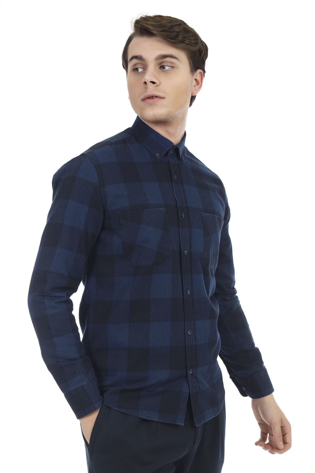 Sax Mavi Ekose Yıkamalı Gömlek