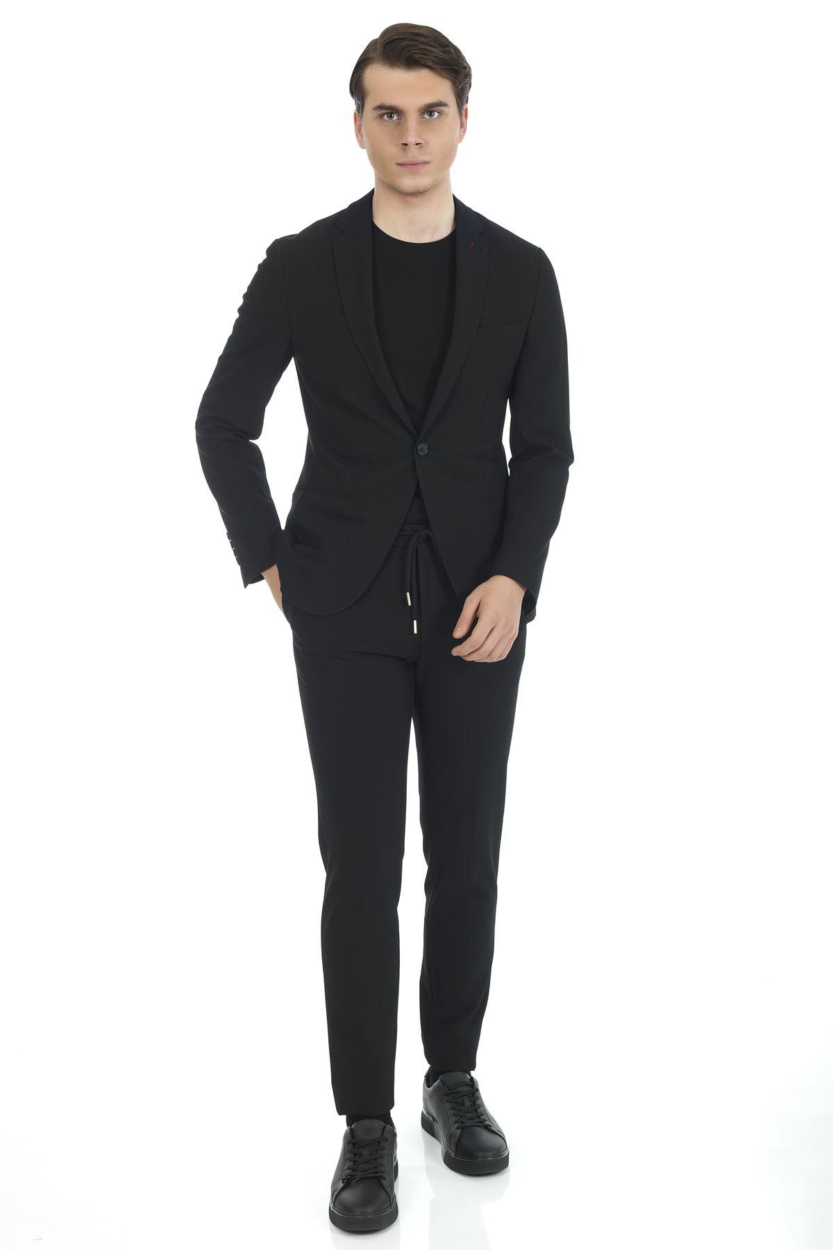 Siyah Süper Slim Likralı Malzemesiz Spor Takım Elbise