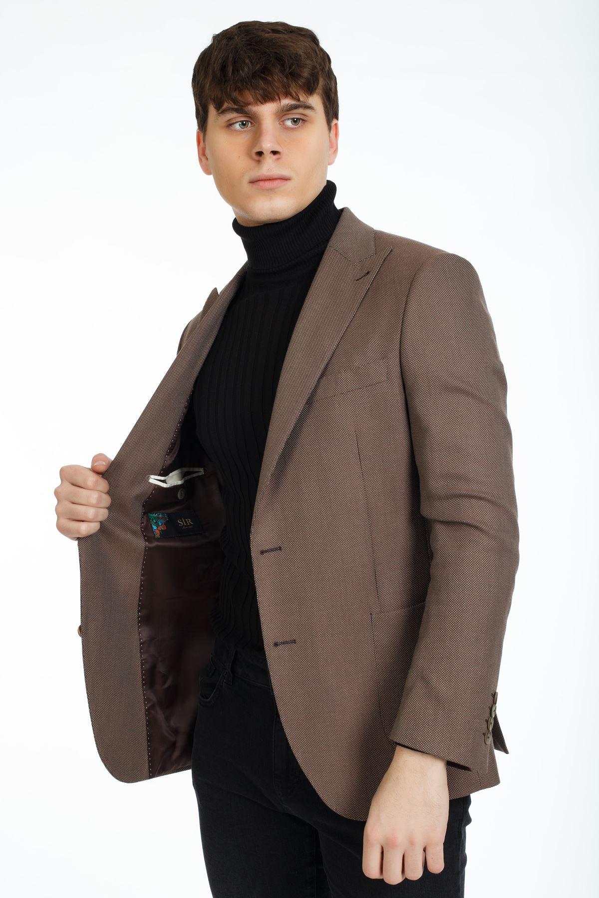 Kahve Desenli Regular Ceket