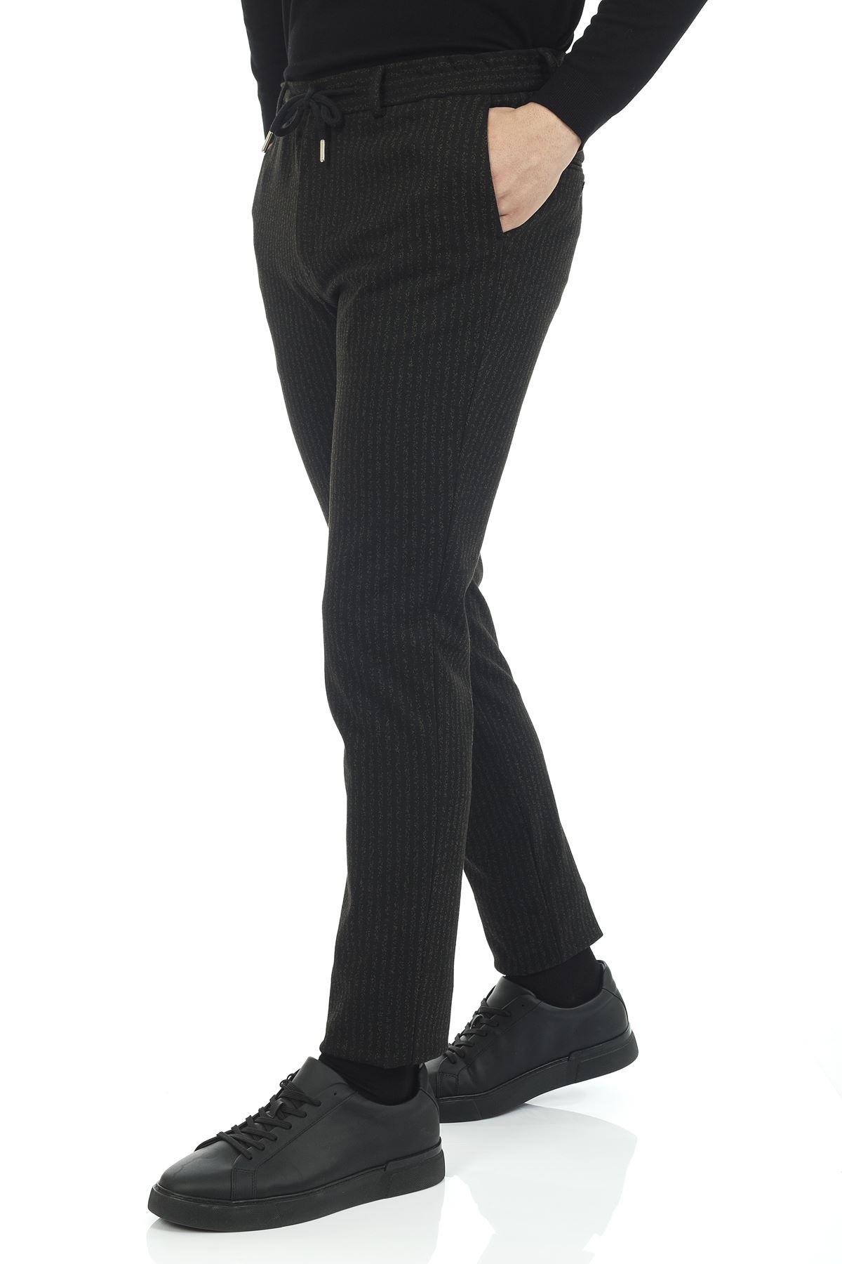 Siyah Yeşil Çizgili Süper Slim Kalıp Jogger Pantolon