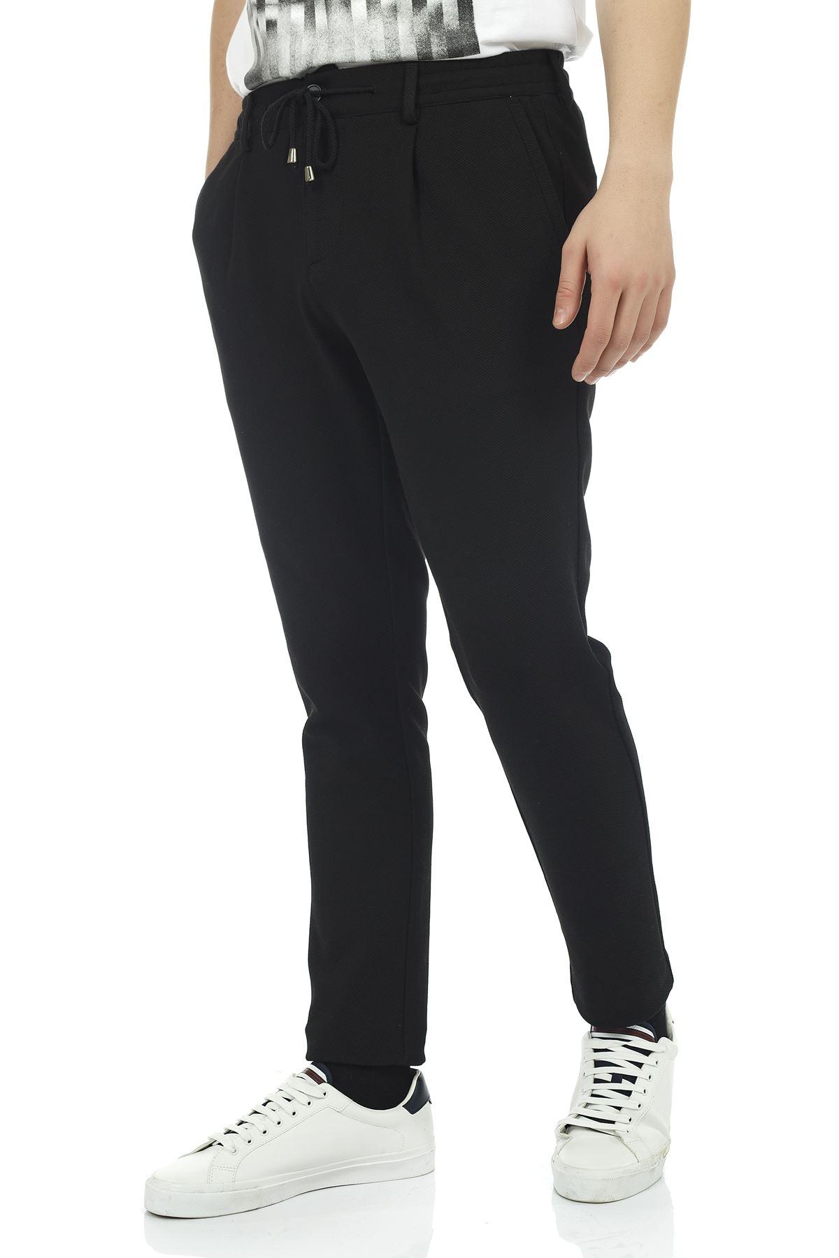 Siyah Beli Lastikli İpli Slim Kalıp Jogger Pantolon