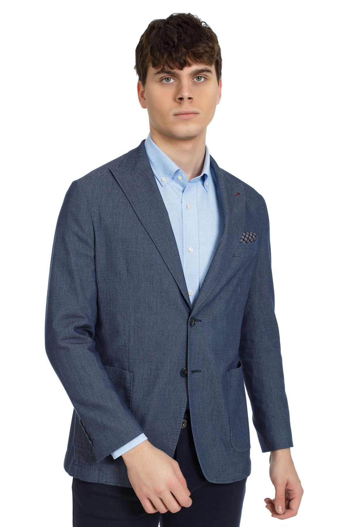 İndigo Süper Slim Kalıp Ceket