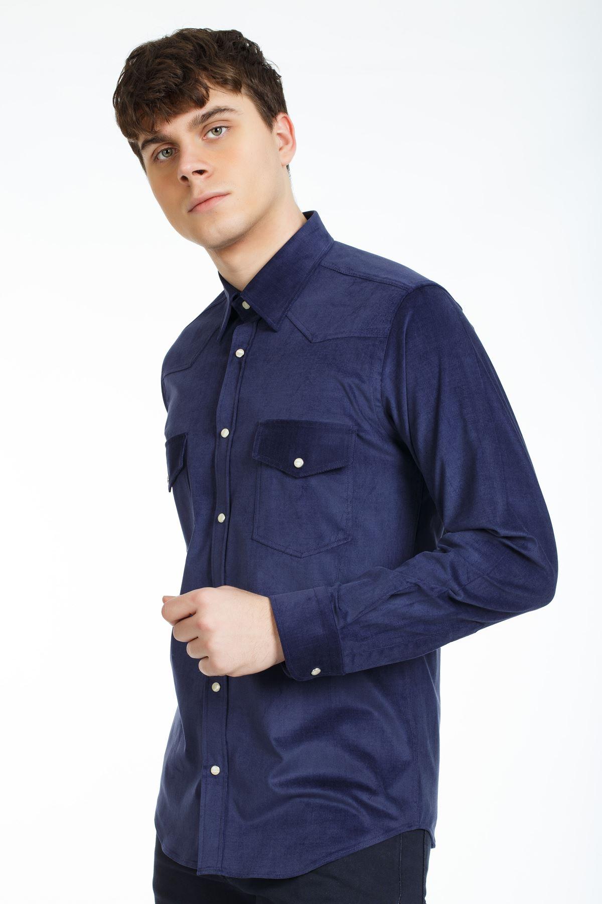 Lacivert Renk Çıt Çıtlı Regular Kalıp Spor Gömlek