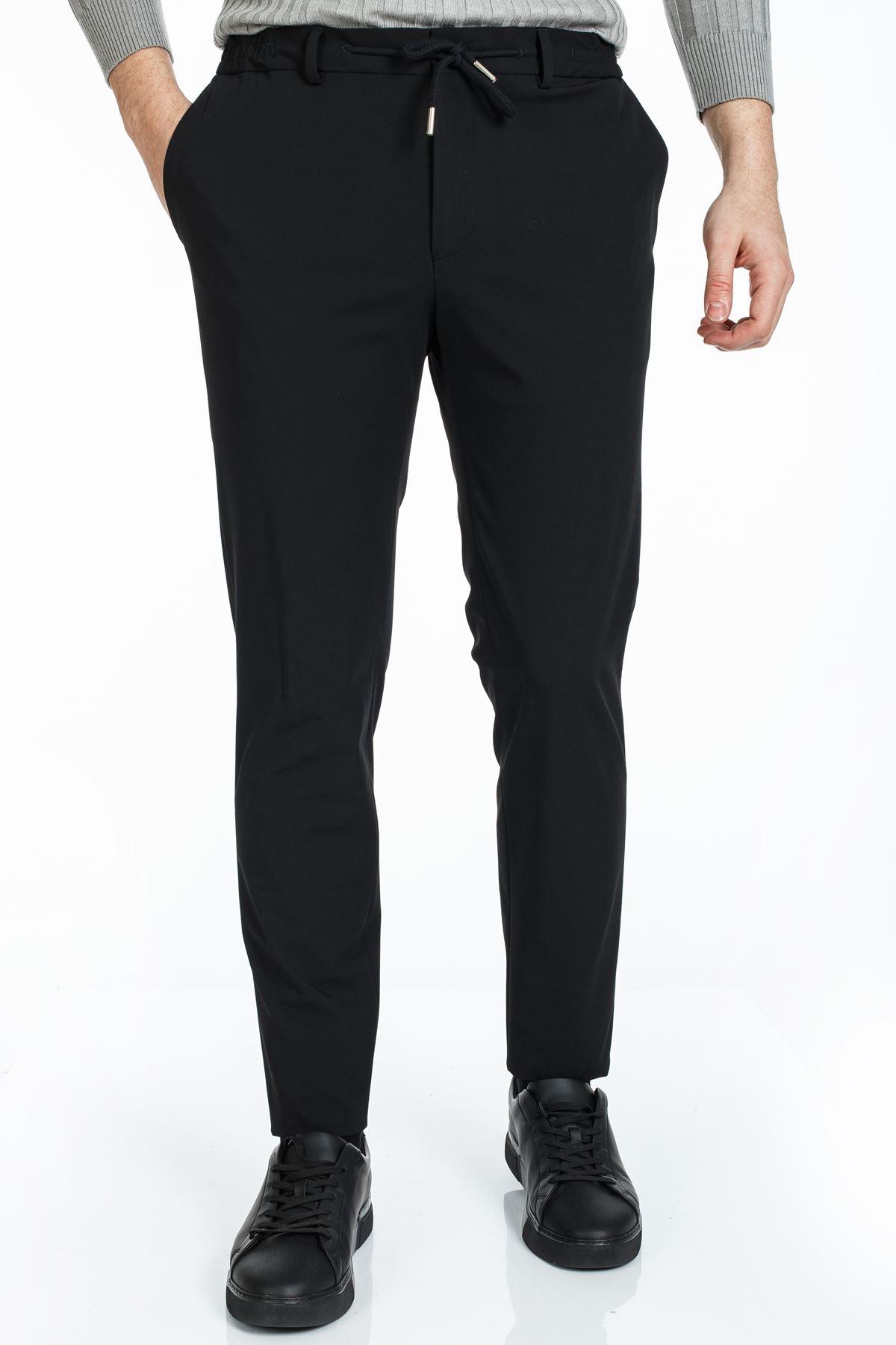 Siyah Likralı Süper Slim Kalıp Jogger Pantolon