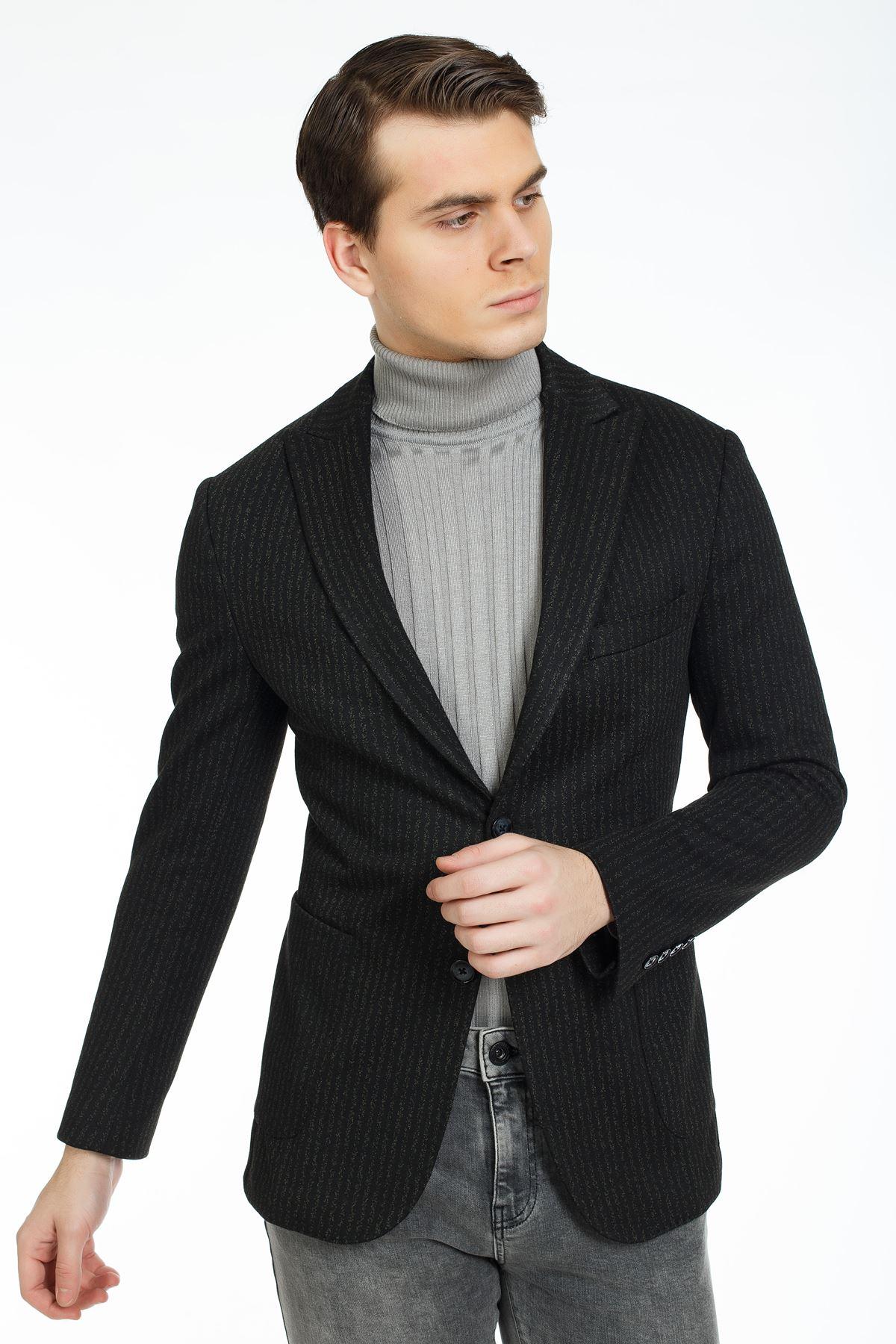 Siyah Yeşil Çizgili Süper Slim Kalıp Ceket