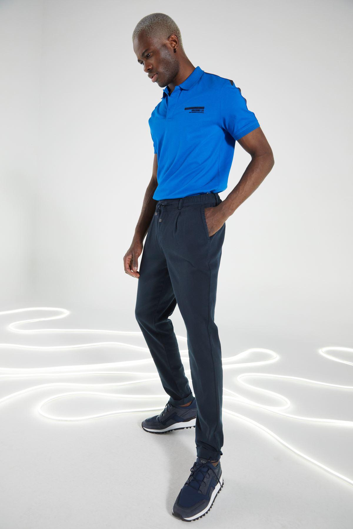 Lacivert Regular Kalıp Diagonal Desen Bağçıklı Jogger Pantolon