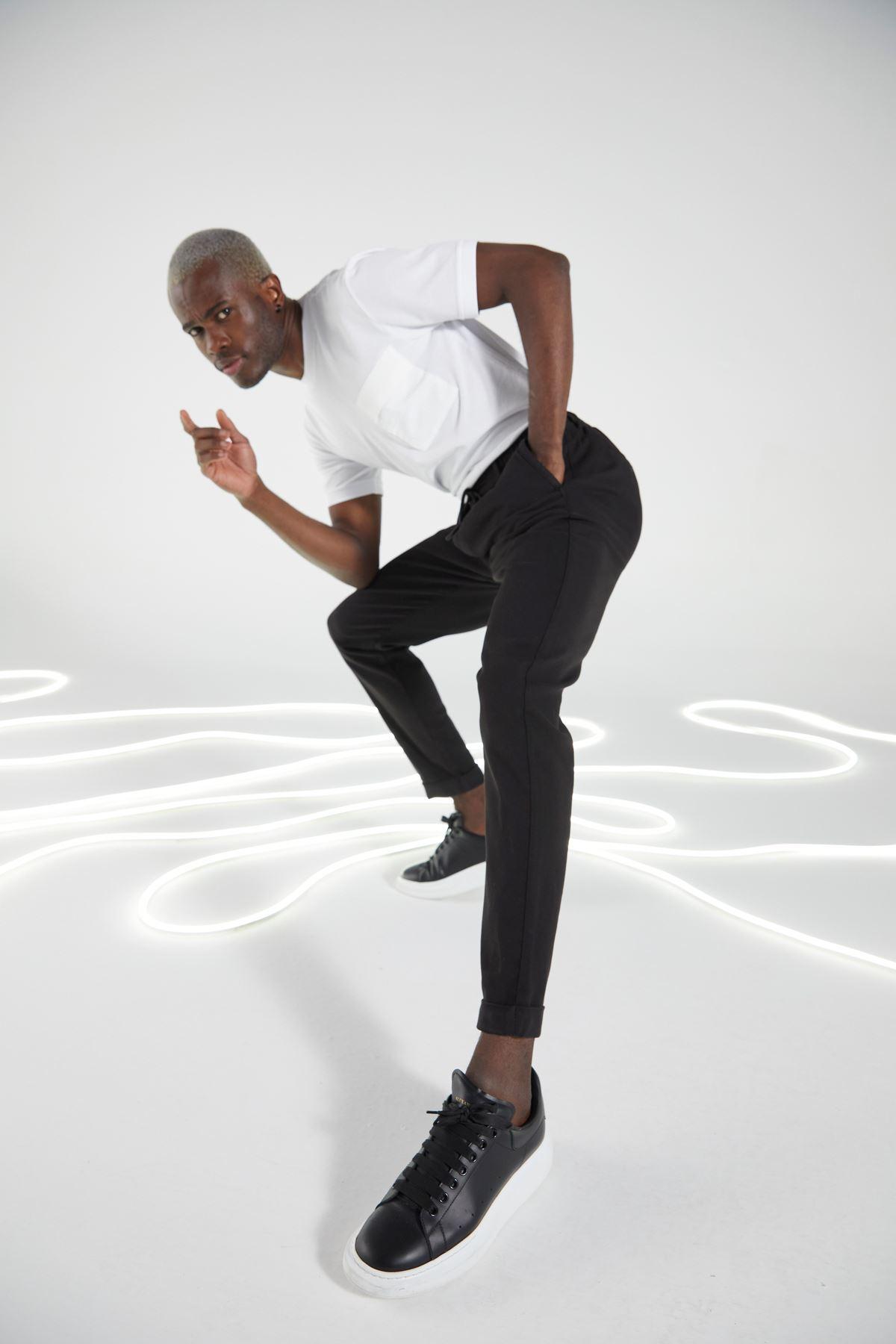Siyah Regular Kalıp Diagonal Desen Bağcıklı Jogger Pantolon