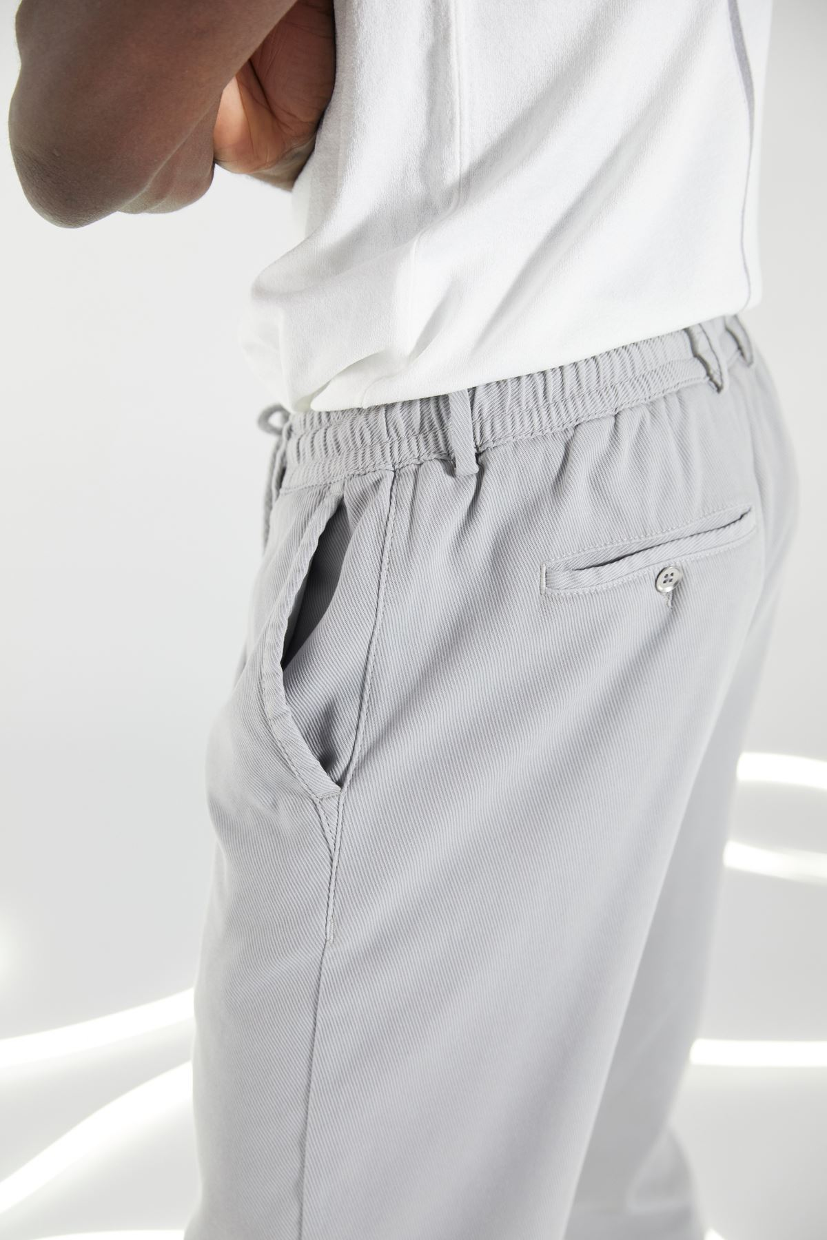 Taş Regular Kalıp Diagonal Desen Bağcıklı Jogger Pantolon