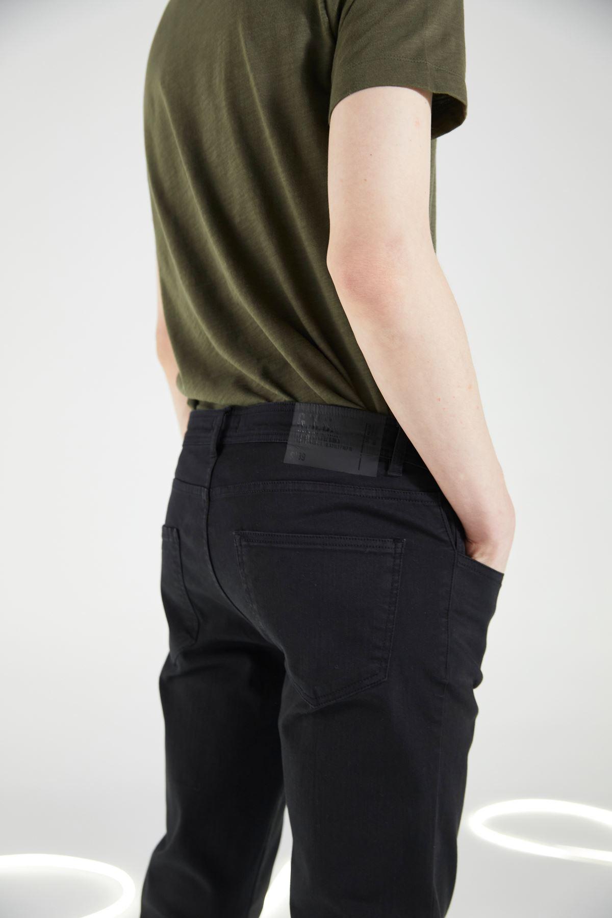 Siyah 5 Cep Likralı Canvas Pantolon
