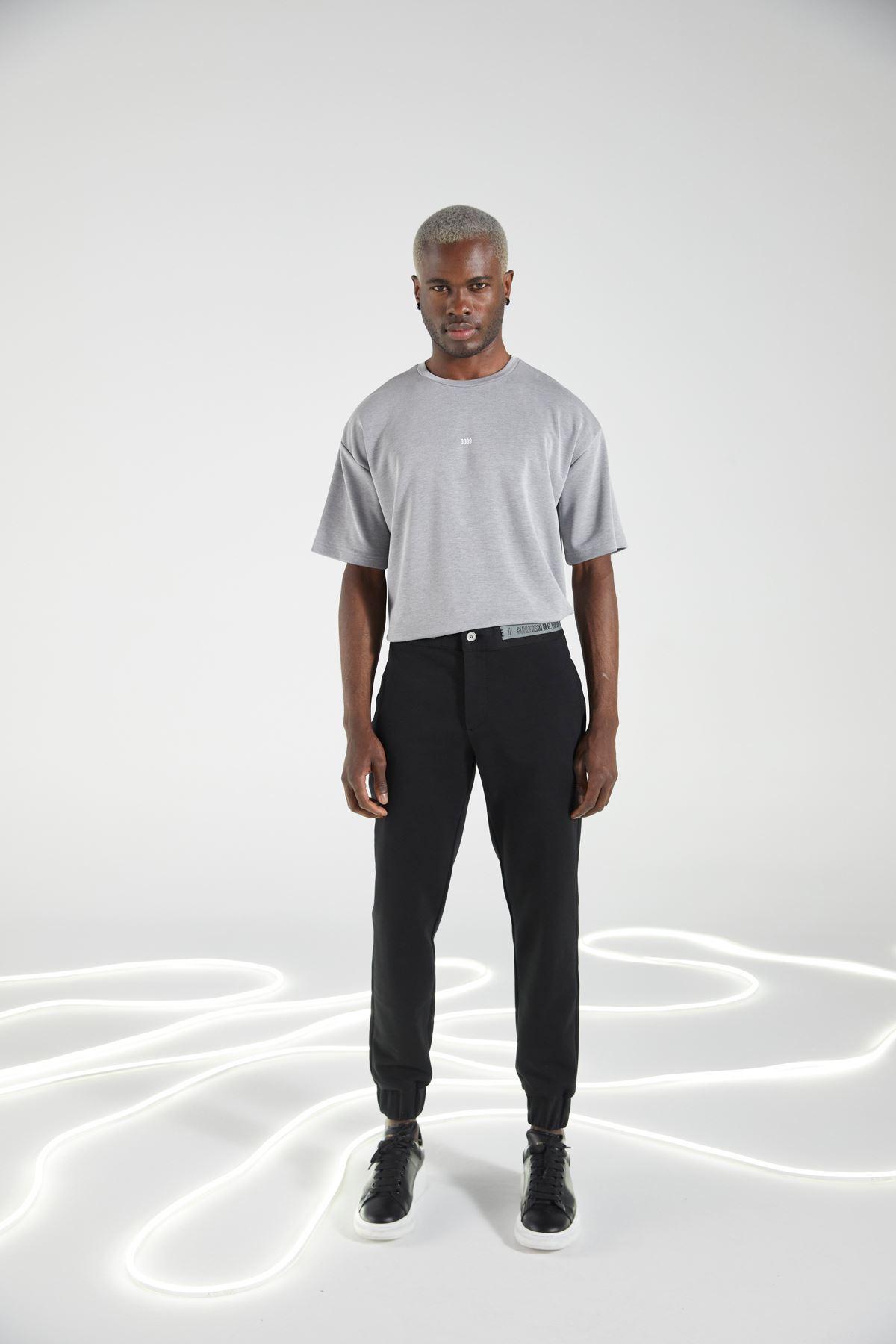 Siyah Paça Lastikli Cepli Eşofman Altı Jogger Pantolon
