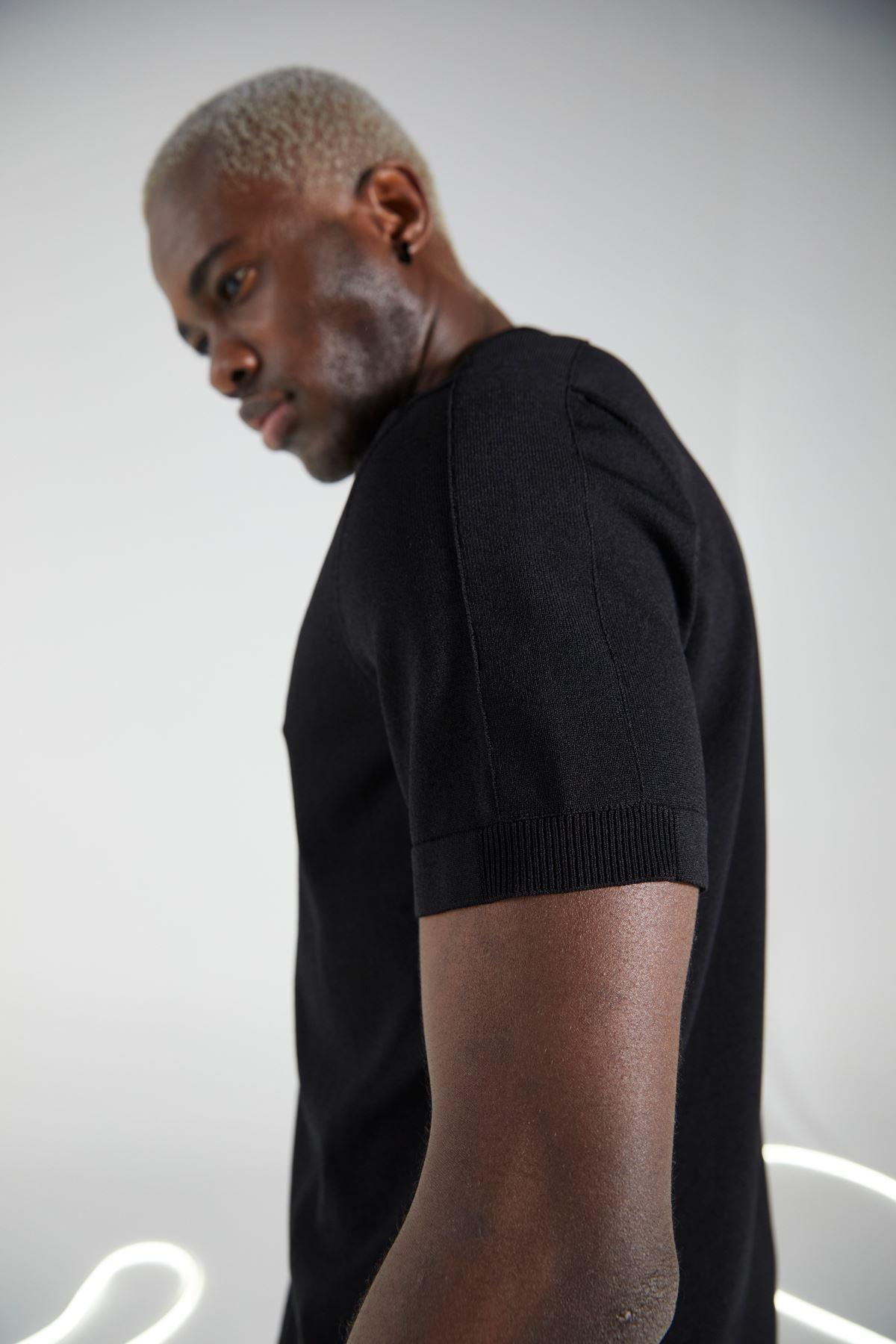 Siyah Gömlek Yaka Düğmeli Triko Kısakol Tshirt